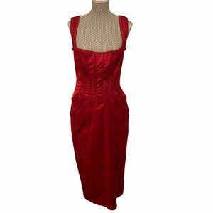 Vintage Tadashi Shoji Red Satin Paneled Cocktail Midi Dress Size 2
